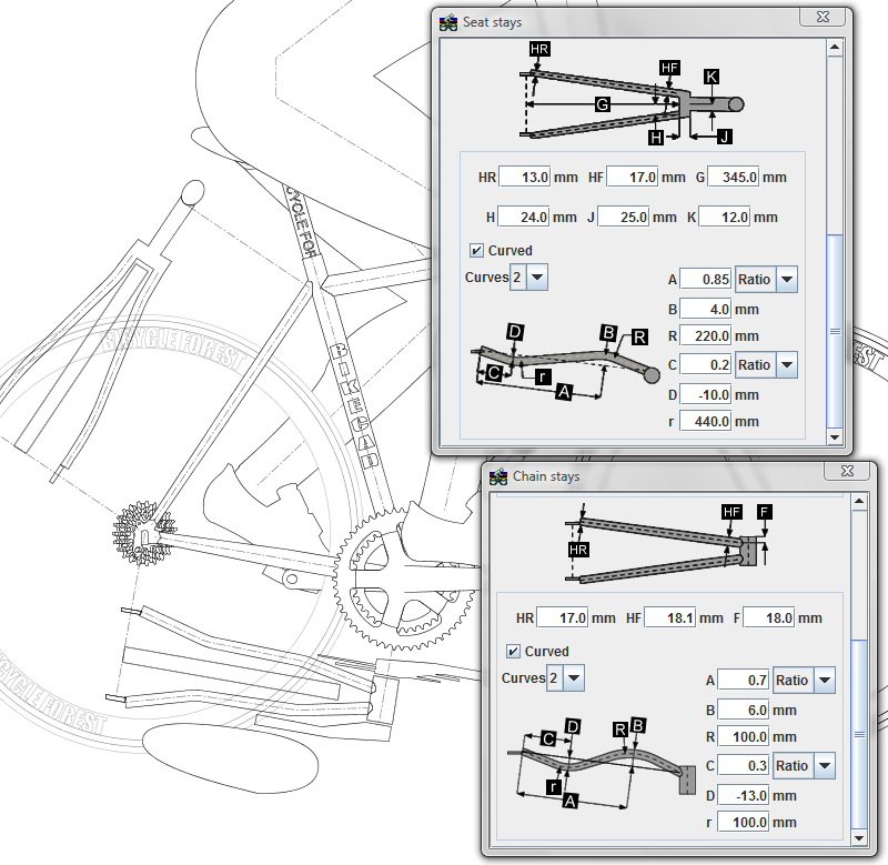 BikeCAD Pro auxiliary view of stays
