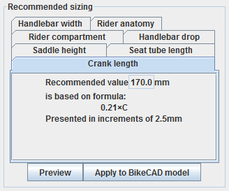Recommended Sizing
