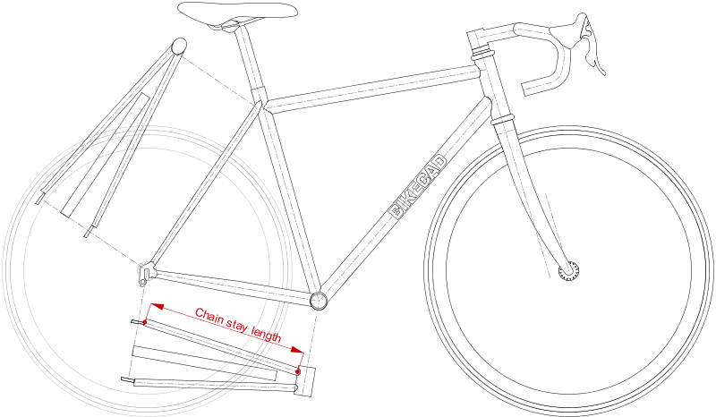 Auxiliary View Chain stay length