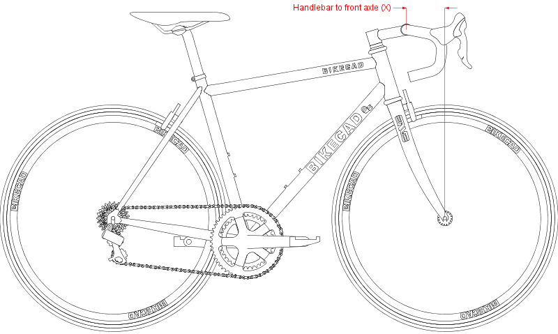 Handlebar to front axle (X)