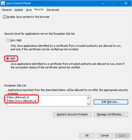 Free version of BikeCAD and Java 1 8 Security | www bikecad ca